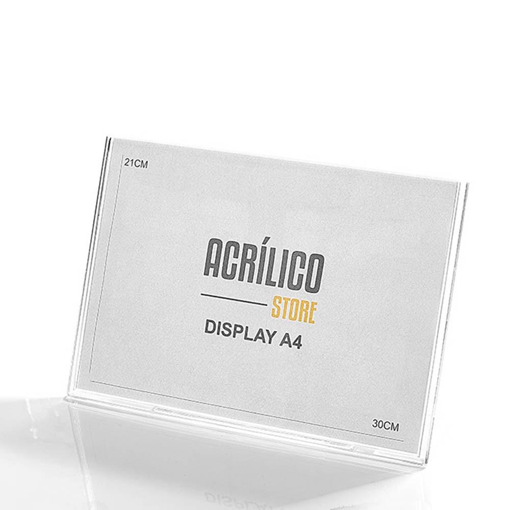 Display em Acrílico Tipo L A4 Horizontal (30x21cm)