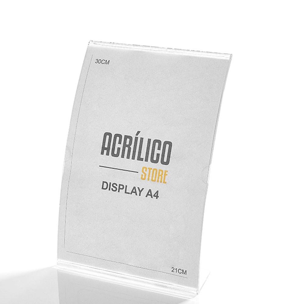 Display em Acrílico Tipo L Curvado A4 Vertical (21x30cm)