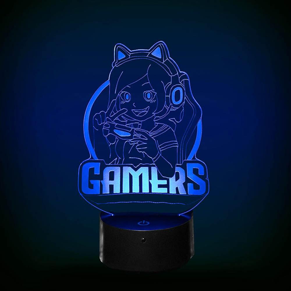 Luminária de Led - Geek Girl Gamer Power