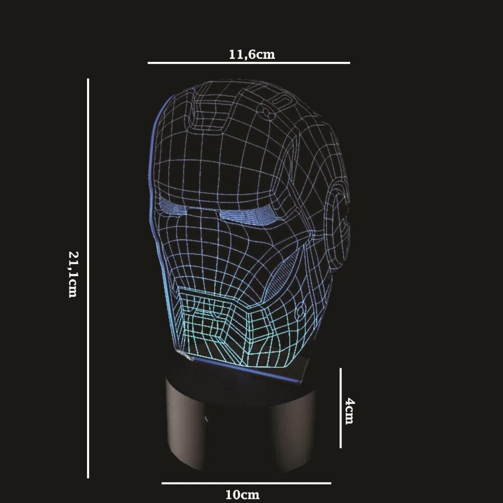 Luminária de Led - Máscara Homem de Ferro