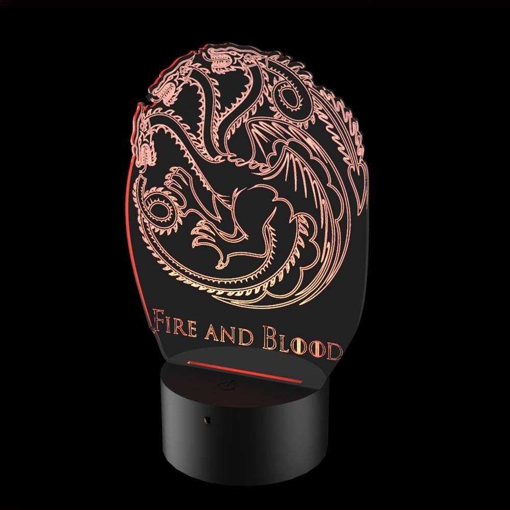 Luminária de Led - Targaryen Game Of Thrones