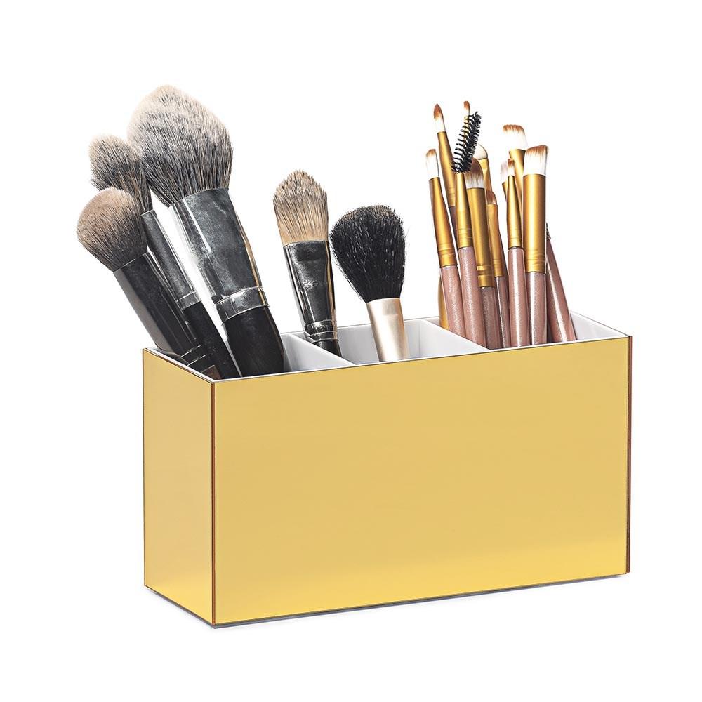 Porta Pincel em Acrílico Dourado com 3 Divisórias