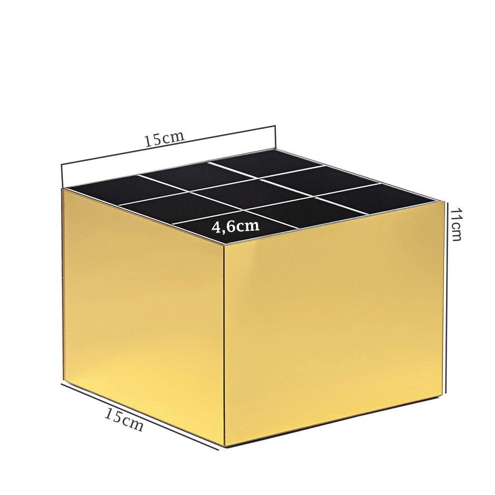 Porta Pincel em Acrílico Dourado com 9 Divisórias